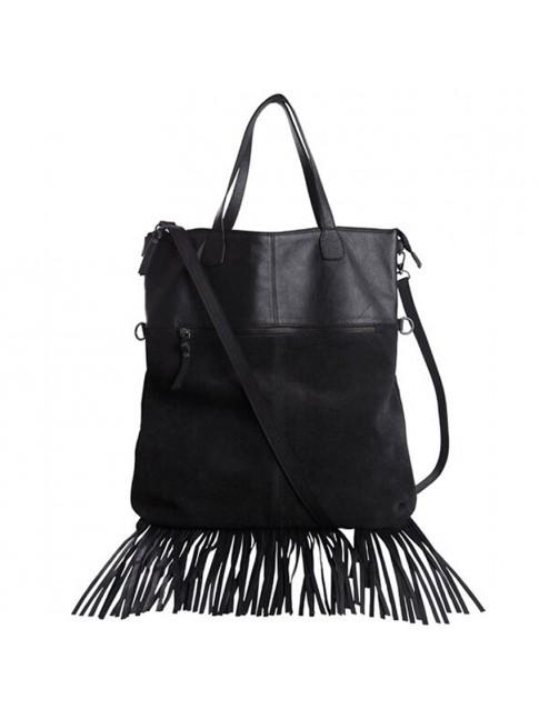 Bolso 100% piel Shopping Bag con flecos color negro PIECES