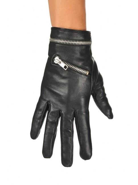 Guantes de piel forrados con cremallera color negro PIECES