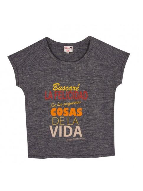 """Camiseta """"Buscaré la felicidad en las pequeñas cosas de la vida""""  color marino  DOLORES PROMESAS"""