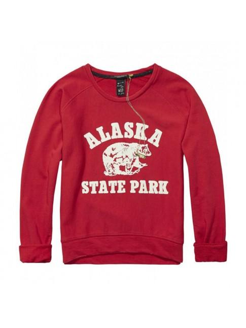 Sudadera impresión vintage ALASKA color rojo   MAISON SCOTCH