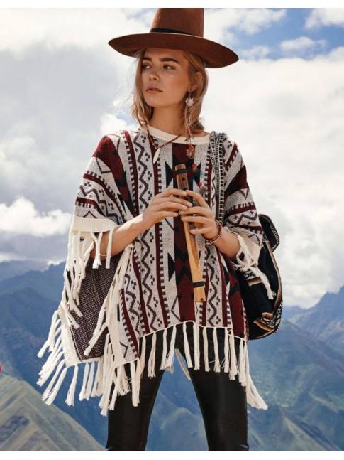 Poncho en punto diseño étnico con flecos  VILA CLOTHES
